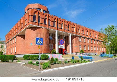 POLOTSK BELARUS - MAY 19 2017: Polotsk Children's Polyclinic Street Euphrosyne of Polotsk 18