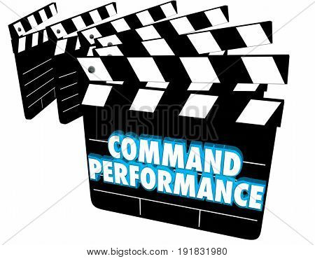 Command Performance Movie Clapper Boards Acting Scene 3d Illustration