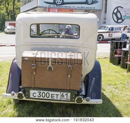 Rostov-on-Don Russia - May 212017: Vintage auto Opel stands in the park
