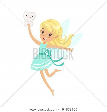 Beautiful sweet blonde Tooth Fairy girl flying and holding smiling tooth colorful cartoon character vector Illustration isolated on a white background