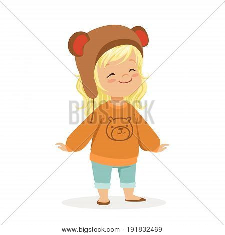 Cute little blonde girl dressed in a brown bear hat and a sweater with teddy bear colorful cartoon character vector Illustration isolated on a white background.