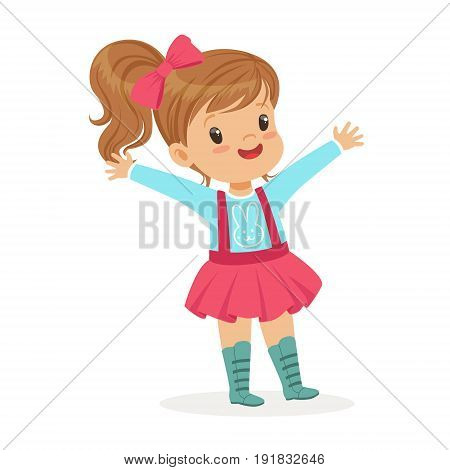 ute smiling little girl dressed in a pink skirt and bow colorful cartoon character vector Illustration isolated on a white background