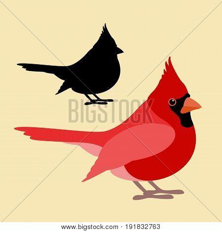 bird cardinal vector illustration style Flat side silhouette