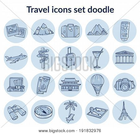 Sketch summer vacation elements set with travel equipment air transport cocktail bags mountain palm sightseeings in circles isolated vector illustration