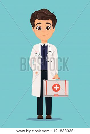 Medical doctor in white coat holding first aid kit. Vector illustration. EPS10