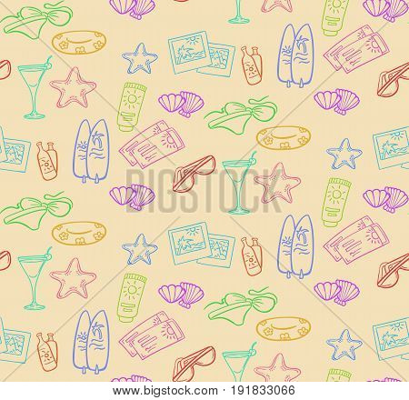 Doodle summer beach seamless pattern with cocktail photos starfish tickets shells bikini lifebuoy surfing boards sunglasses cream vector illustration