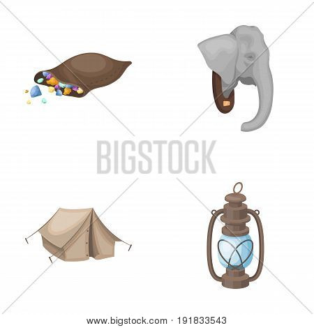 A bag of diamonds, an elephant's head, a kerosene lamp, a tent. African safari set collection icons in cartoon style vector symbol stock illustration .