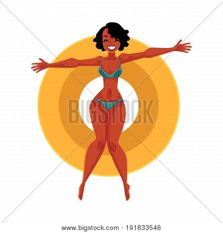 Young black, African American girl, woman in bikini floating on inflatable ring, top view cartoon vector illustration isolated on white background. Young black woman, girl swimming on inflatable ring