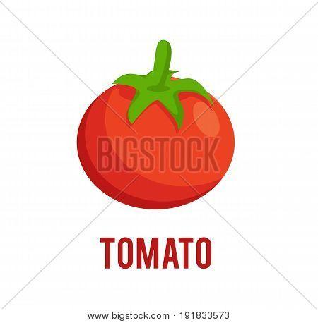 Tomato icon in flat style. Isolated on white background. Tomato logo. Vector stock.