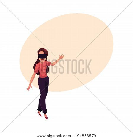 Young woman, girl wearing virtual reality headset, simulator, cartoon vector illustration with space for text. Happy young woman, girl wearing virtual reality simulator, headset, device
