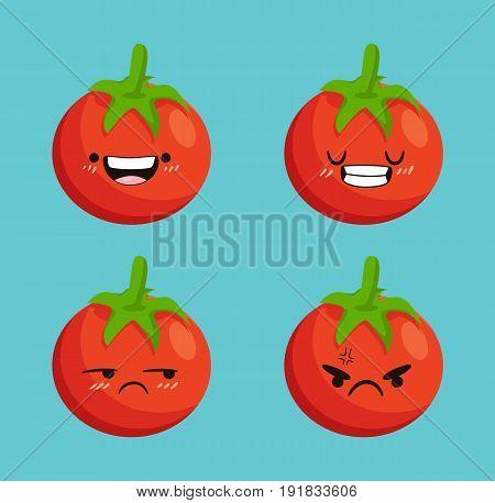 Set different kawaii tomato cartoon. Tomato in differen expressions. Cute tomato design flat icon. Vector stock.