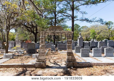 Savannah GA - March 28 2017: Jewish section of historic Bonaventure Cemetery Savannah. The gate is in accordance with Jewish tradition and the cemetery remains in use today.