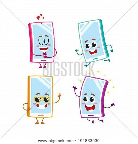 Set of funny cartoon mobile phone, smartphone characters with human faces showing various emotions, vector illustration isolated on white background. Set of cartoon mobile phone, smartphone characters