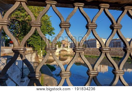 View of the Tiber River and St. Peter's Cathedral in the Vatican. Italy.
