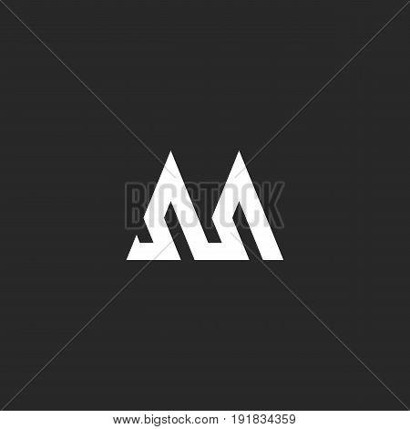 Outline Letter M Logo Hipster Initial Monogram Mockup, Broken Line Abstract Wave Geometric Shape, Si