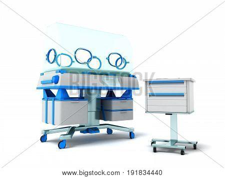 Incubator For Children Blue Front 3D Rendering On White Background