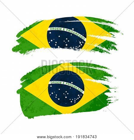 Grunge brush stroke with Brazil national flag isolated on white
