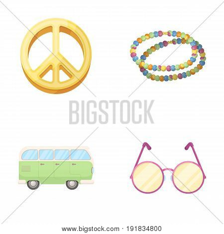 A hippie sign, beads, a bus, round glasses.Hippy set collection icons in cartoon style vector symbol stock illustration.