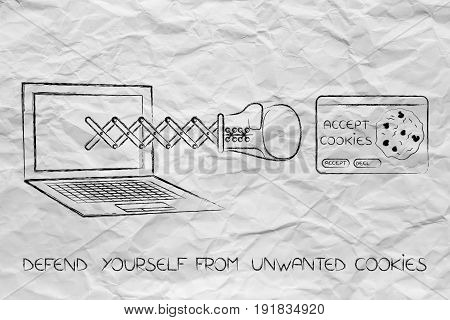 Laptop With Boxing Glove Punching An Unwanted Cookie