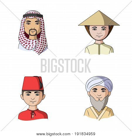 Arab, turks, vietnamese, middle asia man. Human race set collection icons in cartoon style vector symbol stock illustration .