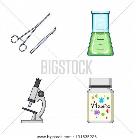 A bank of vitamins, a flask with a solution and other equipment.Medicine set collection icons in cartoon style vector symbol stock illustration .
