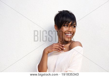 Close Up Stylish Young Black Female Model Against White Background