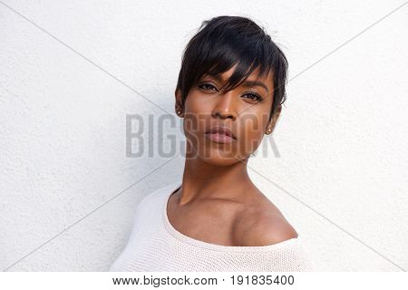 Close Up Beautiful African American Female Model With Modern Hairstyle