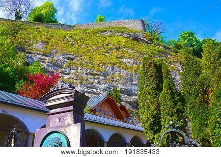 Salzburg, Austria - May 01, 2017: Hohensalzburg Fortress at Salzburg at Austria at sunny day