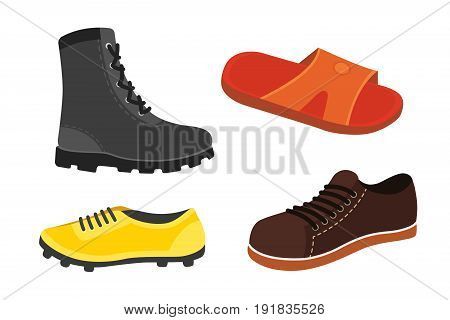 Male man season shoes in flat style. Men boots isolated set vector illustration.
