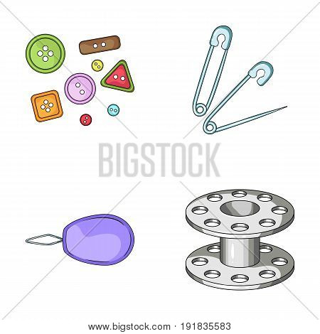 Buttons, pins, coil and thread.Sewing or tailoring tools set collection icons in cartoon style vector symbol stock illustration .