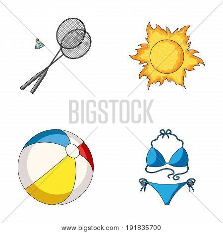 A game of badminton, a ball and the sun.Summer vacation set collection icons in cartoon style vector symbol stock illustration .