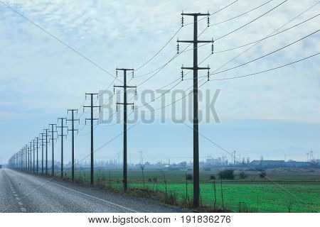 power poles symmetric background & electrical materials