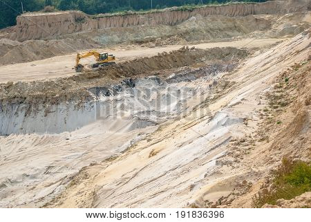 industrial sand quarry, sand pit, tyre tracks in sand, background