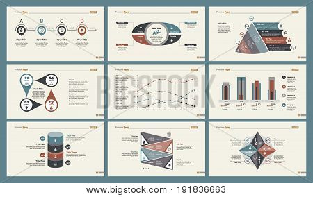 Infographic design set can be used for workflow layout, diagram, annual report, presentation, web design. Business and accounting concept with process, percentage, timing, line and bar charts.