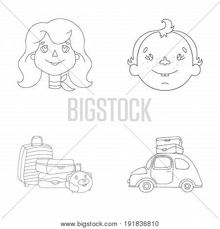 Camping, woman, boy, bag .Family holiday set collection icons in outline style vector symbol stock illustration .