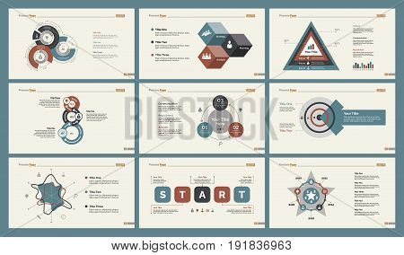 Infographic design set can be used for workflow layout, diagram, annual report, presentation, web design. Business and analytics concept with process, percentage and radar charts.