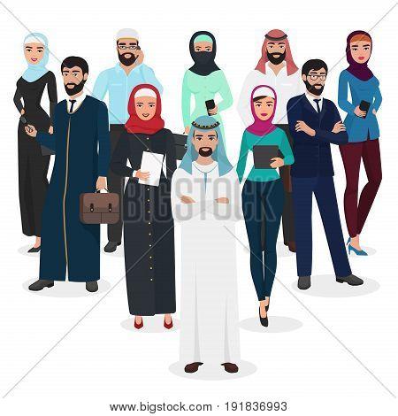 Arab muslim business people teamwork. Arabic cartoon vector illustration