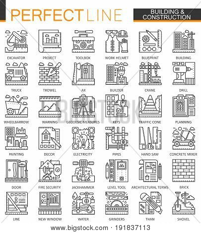 Building and construction outline mini concept symbols. Home repair tools modern stroke linear style illustrations set. Perfect thin line icons