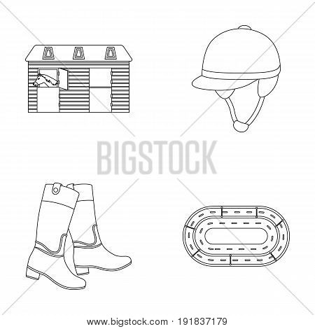 Boots, grass, stadium, track, rest .Hippodrome and horse set collection icons in outline style vector symbol stock illustration .