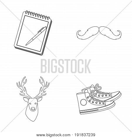 Hipster, fashion, style, subculture .Hipster style set collection icons in outline style vector symbol stock illustration .