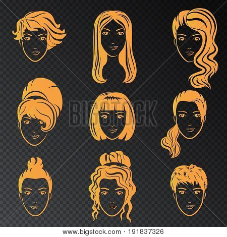 Vector set of stylized gold logo with beautiful women hairstyles. Golden fashion stylish collection of fashionable hairstyle