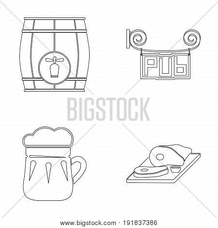 Restaurant, cafe, beer, glass .Pub set collection icons in outline style vector symbol stock illustration .