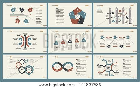 Infographic design set can be used for workflow layout, diagram, annual report, presentation, web design. Business and economics concept with process and timing charts.