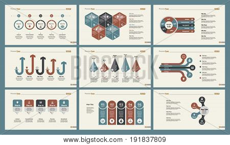 Infographic design set can be used for workflow layout, diagram, annual report, presentation, web design. Business and management concept with process, percentage, timing and bar charts.