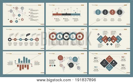 Infographic design set can be used for workflow layout, diagram, annual report, presentation, web design. Business and logistics concept with process, percentage, timing, flow and bar charts.