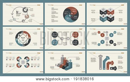 Infographic design set can be used for workflow layout, diagram, annual report, presentation, web design. Business and management concept with process, percentage, bar charts and mind maps.