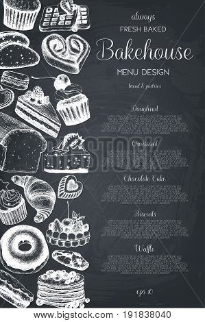 Vector card design with ink hand drawn baking illustration. Vintage template with bread and pastries sketch. Bakery or bakehouse menu on chalkboard