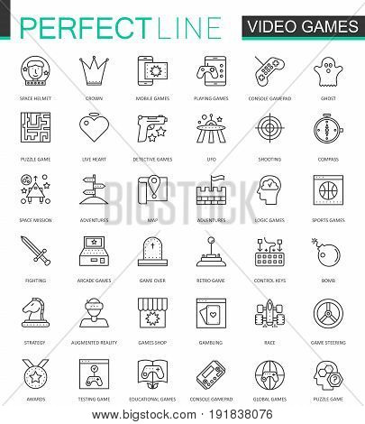 Video games thin line web icons set. Mobile game app interface Outline stroke icons design