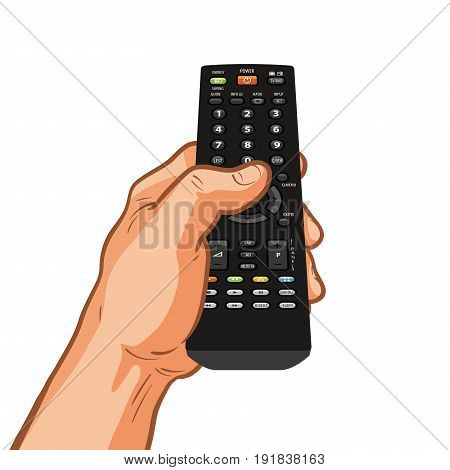 TV remote control holding in hand. Vector illustration isolated on white background