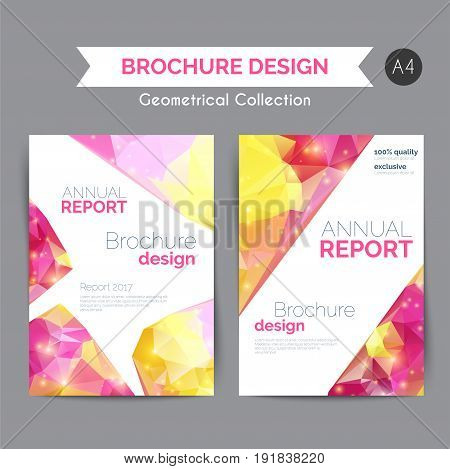 Annual report template. Modern flyer with geometric shapes in low poly style. Abstract business brochure. Vector illustration